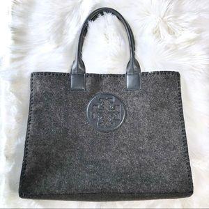 Tory Burch Gray/Black Wool Logo Tote Bag
